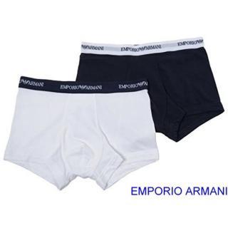 【EMPORIO ARMANI】2019時尚彈力棉深藍白色平角內著混搭2件組-網好評推薦  EMPORIO ARMANI