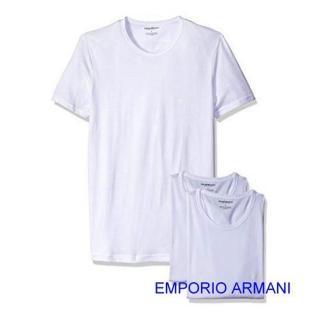 【EMPORIO ARMANI】2019時尚舒適白色圓領內衣3件組-網好評推薦  EMPORIO ARMANI