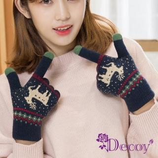 【Decoy】聖誕馴鹿*男女保暖針織觸控手套/深藍推薦折扣  Decoy