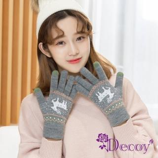 【Decoy】聖誕馴鹿*男女保暖針織觸控手套/灰  Decoy