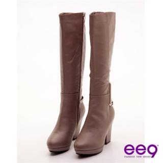 【ee9】心滿益足~香榭大道美型粗跟長靴~迷情可可(長靴)  ee9