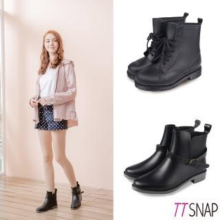 【TTSNAP】雨靴-輕量2way圓頭中筒防水靴(黑)  TTSNAP