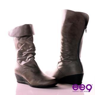 【ee9】簡約時尚~經典反摺2WAY進口小綿羊皮抓皺中筒靴~注目灰(中筒靴)  ee9