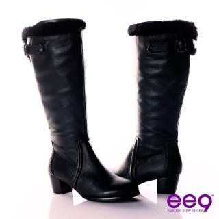 【ee9】深森女騎~小牛皮綿羊毛基本款長筒靴~帥勁黑(長靴)  ee9