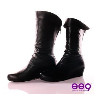 【ee9】簡約時尚~經典反摺2WAY進口小綿羊皮抓皺中筒靴~百搭黑(中筒靴)  ee9