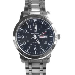 【玖飾時尚】搭載SEIKO機芯亮銀色黑面錶(手錶)  玖飾時尚