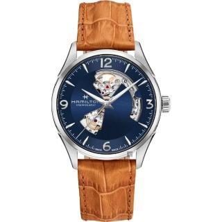 【HAMILTON 漢米爾頓】JAZZMASTER 爵士開心機械錶-藍x卡其色/42mm(H32705541) 推薦  HAMILTON 漢米爾頓