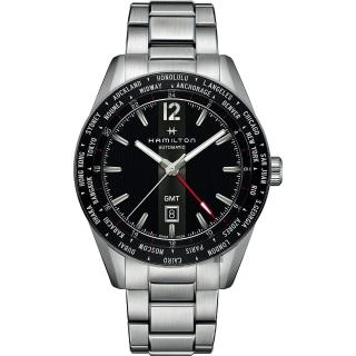 【HAMILTON 漢米爾頓】Broadway 百老匯 GMT 限量機械錶-黑x銀/46mm(H43725131)  HAMILTON 漢米爾頓