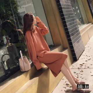 【Jilli-ko】兩件套針織毛衣套裝-F(橘/米白)  Jilli-ko
