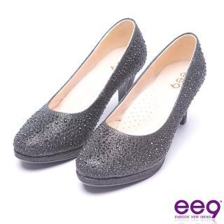 【ee9】芯滿益足-璀璨奢華名媛專屬夢幻晶鑽跟鞋-黑色(跟鞋)好評推薦  ee9