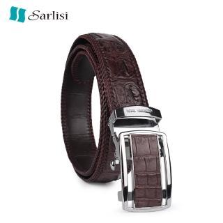【Sarlisi】真皮鱷魚皮帶男腰帶手工編織包邊原裝自動扣(全網獨家 原價9800 現價4980 數量有限)  Sarlisi