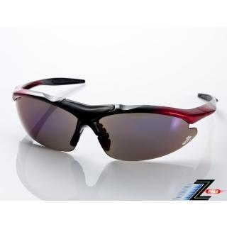 【Z-POLS】頂級TR90彈性輕量黑紅漸層 搭載PC防爆電鍍運動太陽眼鏡(抗UV400抗烈陽多功能輕量運動眼鏡)  Z-POLS