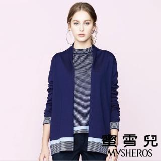 【mysheros 蜜雪兒】半條紋針織外套(藍)  mysheros 蜜雪兒