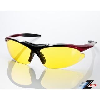 【Z-POLS】頂級TR90彈性輕量黑紅漸層 搭載PC防爆夜用黃運動眼鏡(抗UV400抗雜光 增加夜間視野明亮度) 推薦  Z-POLS