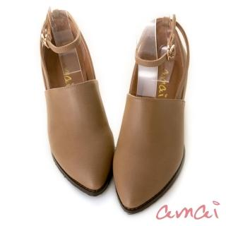 【amai】小文青復古瑪莉珍踝靴(棕)  amai