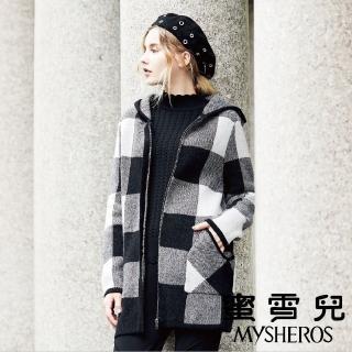 【mysheros 蜜雪兒】黑白格紋針織連帽外套(灰)  mysheros 蜜雪兒