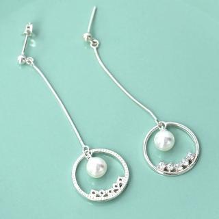 【玖飾時尚】珍珠水鑽垂墜耳針耳環(銀飾)  玖飾時尚