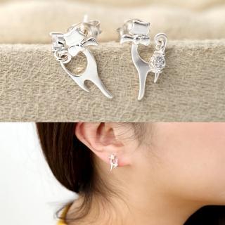 【玖飾時尚】優雅貓咪耳針耳環(銀飾)強力推薦  玖飾時尚