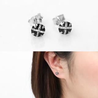 【玖飾時尚】黑鑽十字耳針耳環(銀飾) 推薦  玖飾時尚