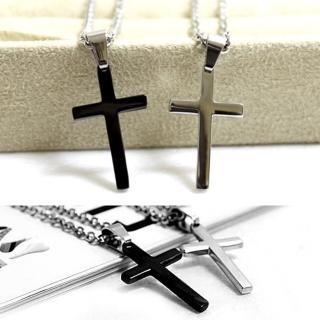 【玖飾時尚】簡約時尚素面十字架項鍊(鋼鍊)  玖飾時尚
