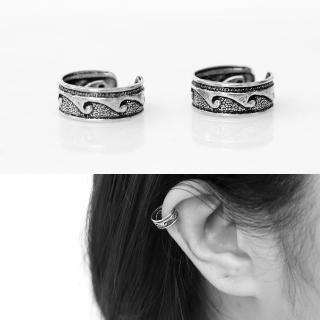 【玖飾時尚】波浪純銀耳骨夾耳環(銀飾)  玖飾時尚