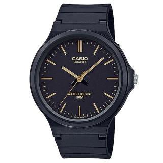 【CASIO 卡西歐】簡約指針休閒錶-金羅馬黑面(MW-240-1E2)  CASIO 卡西歐