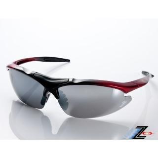 【Z-POLS】TR90彈性輕量黑紅漸層 搭載PC防爆電鍍水銀黑運動太陽眼鏡(抗UV400抗烈陽多功能輕量運動眼鏡)  Z-POLS