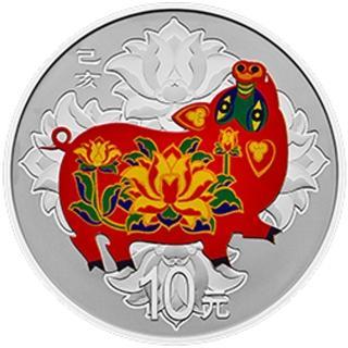 【台灣大洋金幣】2019 豬年生肖 30克彩色銀幣(福氣豬報到)  台灣大洋金幣