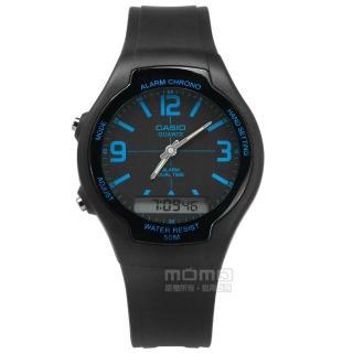 【CASIO 卡西歐】復古簡約 數位指針雙顯 兩地時間 計時碼錶 鬧鈴 橡膠手錶 藍x黑 38mm(AW-90H-2B) 推薦  CASIO 卡西歐