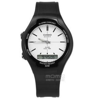 【CASIO 卡西歐】復古簡約 數位指針雙顯 兩地時間 計時碼錶 鬧鈴 橡膠手錶 白x黑 38mm(AW-90H-7E) 推薦  CASIO 卡西歐