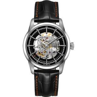 【HAMILTON 漢米爾頓】AMERICAN CLASSIC鐵路系列鏤空機械腕錶-黑/42mm(H40655731)強力推薦  HAMILTON 漢米爾頓
