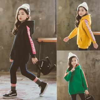 【小衣衫童裝】中大童內外撞色側邊條長袖連帽刷毛上衣(1071124)  小衣衫童裝