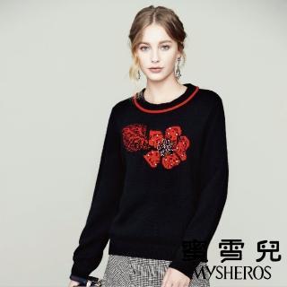 【mysheros 蜜雪兒】珍珠花針織上衣(紅)  mysheros 蜜雪兒