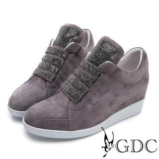 【GDC】真皮高筒運動風滿版水鑽質感休閒鞋-灰色(824677)好評推薦  GDC