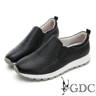 【GDC】真皮質感壓紋舒適休閒鞋-黑色(824685)  GDC