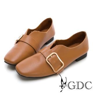 【GDC】真皮文青質感金色扣V型裁切休閒鞋-棕色(824732)  GDC