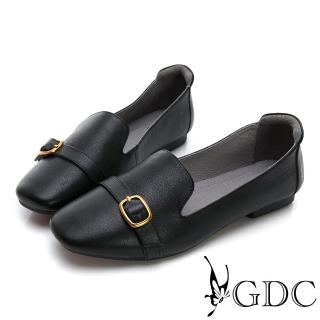 【GDC】真皮素色文青質感金色扣微方頭休閒鞋-黑色(824733) 推薦  GDC