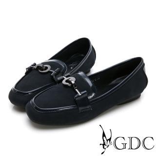 【GDC】時尚真皮磨砂歐美微方頭休閒鞋-藍色(824749)  GDC