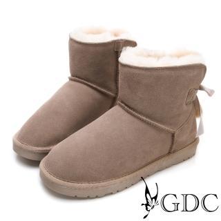 【GDC】秋冬必備超夢幻狐狸毛緞帶蝴蝶結暖暖雪靴-豆沙色(828831) 推薦  GDC