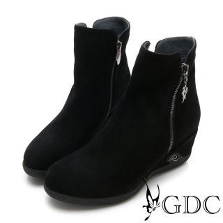 【GDC】真皮奢華質感簡約楔型側扣飾短靴-黑色(828610)  GDC