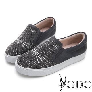【GDC】麂皮可愛俏皮貓咪滿版水鑽休閒鞋-灰色(824674)推薦折扣  GDC