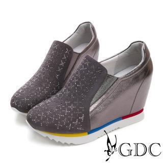 【GDC】真皮簡約幾何滿版水鑽楔型高筒休閒鞋-灰色(824678)  GDC