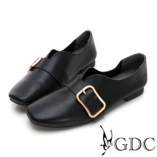 【GDC】真皮文青質感金色扣V型裁切休閒鞋-黑色(824732)  GDC