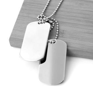 【玖飾時尚】素面雙軍牌造型白鋼項鍊(鋼鍊)  玖飾時尚