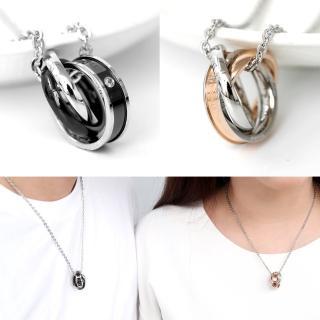 【玖飾時尚】三環相扣單鑽刻字鋼製項鍊(鋼鍊)推薦折扣  玖飾時尚