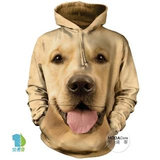 【摩達客】美國The Mountain 大黃金獵犬臉 長袖連帽T恤(預購)推薦折扣  摩達客
