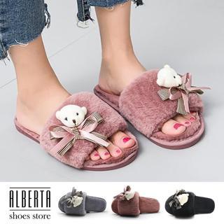 【Alberta】拖鞋-人造短毛絨 保暖舒適刷毛 可愛甜美小熊蝴蝶結 刷毛拖鞋 居家拖鞋 一字拖鞋  Alberta