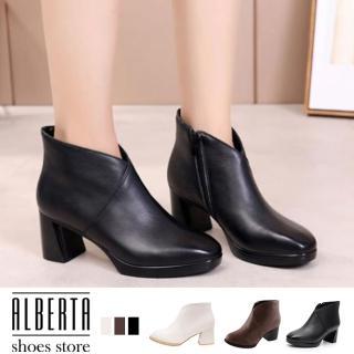 【Alberta】靴子-跟高6CM 純色簡約造型 秋冬穿搭必備款 短靴 踝靴  Alberta