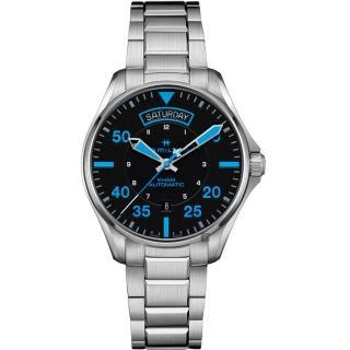 【HAMILTON 漢米爾頓】KHAKI PILOT 飛行員系列機械錶-黑x藍時標/42mm(H64625131)  HAMILTON 漢米爾頓