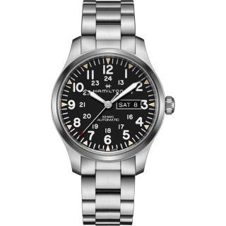 【HAMILTON 漢米爾頓】KHAKI FIELD 卡其野戰機械手錶-黑x銀/42mm(H70535131)  HAMILTON 漢米爾頓